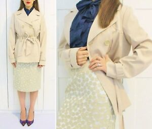 #savingglory GEORGE Double Breasted Trench Coat Tie Cropped AU 14 US 10 Eu 42