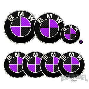 For BMW Badge Satin Carbon Fibre Black & Purple All Models Decals Stickers Fiber