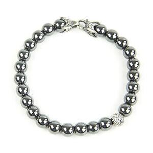 DAVID YURMAN Men's Hematite Spiritual Accent Bead Bracelet $495 NEW