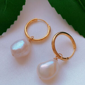 Natural white baroque pearl Earrings 18KGB Holiday gifts Party Accessories