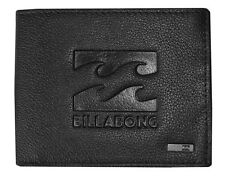 "BRAND NEW IN GIFT BOX BILLABONG ""WAVE"" MENS BLACK LEATHER TRI-FOLD WALLET"
