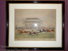 "James Pollard (1792-1867)""Race for the Derby Stakes at Epson 1839"",Aquatint_Rare"
