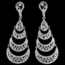 Sterling Silver 925 Bright White Lab Created Diamond Chandelier Earrings
