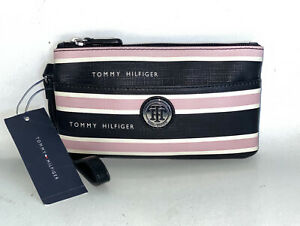 Tommy Hilfiger Pink Black White Striped Coated Canvas Wristlet Purse NWT