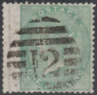 """1856 SG72 1s GREEN WATERMARK EMBLEMS FINE USED LONDON INLAND """"12"""" DUBUS TYPE 2"""