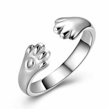 Fashion Silver Opening Ring Adjustable Crystal Thumb Finger Dog Paw Jewelry Gift