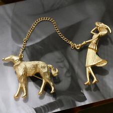 Chain Enamel Metal Jacket Brooches Jian Creative Vintage Gold Women Lead Dog