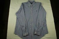 Ralph Lauren 120's Poplin Long Sleeve Button Shirt Men's Striped Pony Large EUC