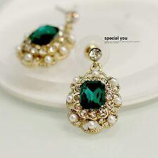 Boucles d`Oreilles Doré Clous Carré Vert Emeraude Mini Perle Vintage Mariage C5