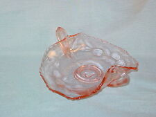 PINK PRESSED GLASS CANDY NUT DISH WITH HANDLES