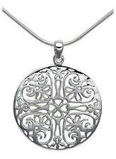 Sterling Silver Celtic Heart Filigree Circle Pendant Necklace Retail $182