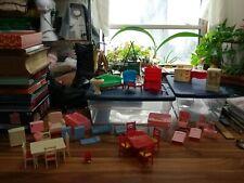 Vtg Dollhouse Furniture Lot Renwal Marx Superior Plasco Nursery Kitchen Bedroom