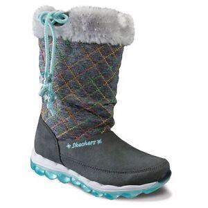 Skechers Skech-Air Quilty Cuties Girls' Grey Boots Size 12T
