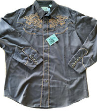 Roper Western Shirt 3XL Mens LS Brown Embroidered Rodeo Cowboy