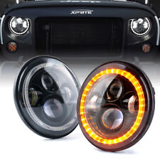 """Xprite 7"""" 90W LED DRL Headlight w/ Halo Ring For 1997-2018 Jeep Wrangler"""