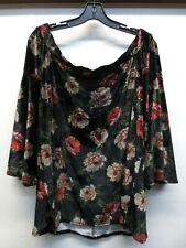 New Torrid Black Floral Print Velvet Off Shoulder Bell Sleeve Top Plus Sz 1/3/4