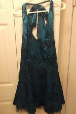 Delaru sequined party dress blue green with black tulle hem size 13 Juniors