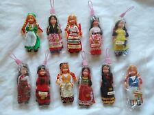 DOLLS OF THE WORLD Plastic Sleepy Eyes Miniatures Hong Kong SET OF 11 Vintage