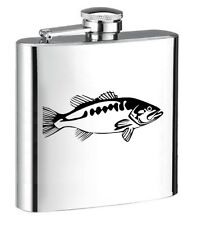 ENGRAVED STEEL HIP FLASK for SPIRIT WINE FISH hf01