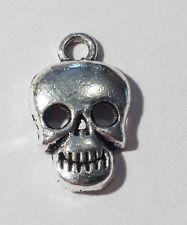 40 Antique Silver Metal Skull Charms Pendant 17mm Boys Birthday Halloween B07782
