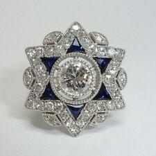 925 Sterling Silver Star Shape Art Deco White & Blue Sapphire Wedding Ring 3 CT