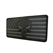 punisher skull USA american flag PVC rubber 3D ALL parche touch fastener patch
