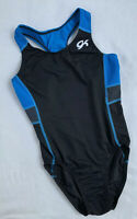 GK ELITE Leotard GYMNASTICS Black Blue MESH X-BACK Sporty TANK Racerback Sz: AM