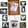 GLITTER TATTOO KIT MOANA COCKEREL PIG SEA  8 stencils 4glitters  BOX