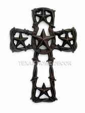 Horseshoe Stars Cast Iron Wall Cross Barbed Wire Rustic Country Western Decor