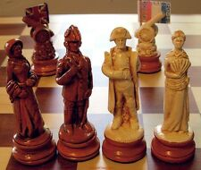 "HUGE WATERLOO CHESS MEN - NAPOLEON - HAND CRAFTED SET K=4½"" (maple) 591"