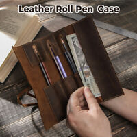 Handmade Genuine Leather Pen Pouch Roll-Up Pencil Case Bag Pen Curtain Vintage