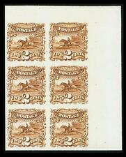 US #113P4; 2¢ PONY EXPRESS PLATE PROOF ON CARD, BLOCK OF 6, XF-NGAI, CV $325