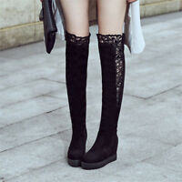 Womens Knee High Boots Suede Lace Hidden Wedge Heels Round Toe Thick Sole Shoes