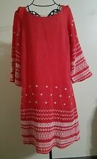 Luxology Red 3/4 Sleeves Lace Floral Back Boho Hippie Dress Size Small