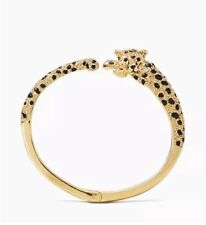 KATE SPADE 12K Gold Plated Run Wild Cheetah Open Hinge Cuff Bracelet KS Dust Bag