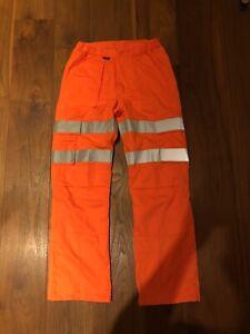 NETWORK RAIL Hi Vis / Hi Viz Orange Rail Trousers (Size: 32'')