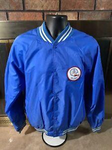 Vintage Houston Oilers NFL Football Varsity Satin Jacket Mens Sz Large RARE Blue