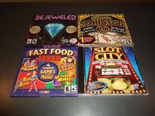 LOT OF 4 PC GAMES BEJEWELED,MAHJONG, SLOT CITY & FAST FOOD FEVER