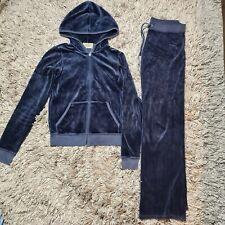 Juicy Couture Navy Blue Velour Tracksuit Set Top Size M Bottoms P