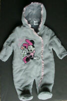 LKnew Disney Minnie Mouse Fleece Footed Pajamas Baby Girl Gray Pink 3-6 Mo M