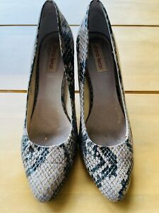 DIANA FERRARI Size 8 Leather Faux Snake Skin Block Heels Libertine Shoes Office