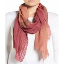 NWT! Eileen Fisher Hand Loomed Stripe Cotton Scarf. RHUBARD $148 FREE SHIPPING