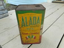 Rare Antique Alada Brand Oil Cottonsee & Soya Bean Oils Salad Cooking Tin Can