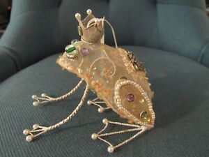 """Whimsical FROG PRINCE Figure Plush Wire Mesh Beaded 4"""" Ornament Decor"""