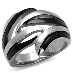 Women's Stainless Steel Round Ring Size 5-10 Engagement Ring Band Wedding 2605