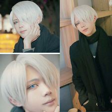 Mens Viktor Nikiforov Costume Wig Short Straight Silver Hair Cosplay Party Wig
