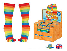 STRIPY TOE SOCKS Soft Ladies Mens Kids Fancy Dress Toy Gift Rainbow Socks Tights