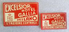 2 Vintage Rare✱ HOTEL GALLIA ~ MILANO ~ ITALY ✱ Old Luggage Label