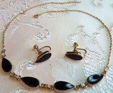 Victoriam 12 K Gold filled Black Onyx Teardrop Necklace  Screw back earrings