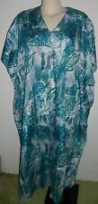 NWT Sante Teal Leaf Pattern Caftan MuuMuu House Dress Full Length One Size